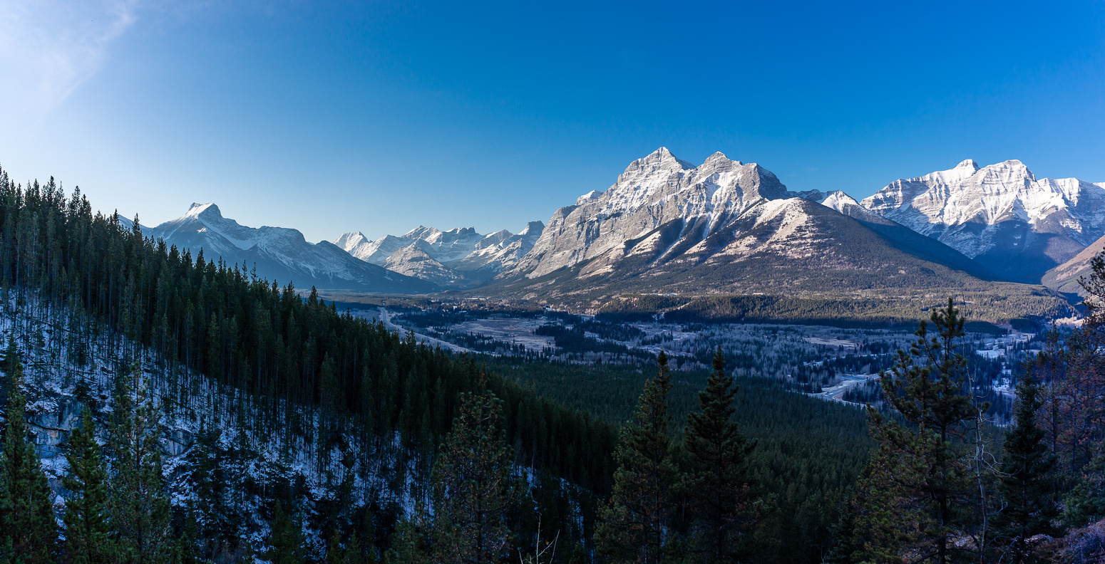 The Kananaskis valley looks nice with a dusting of snow. The Wedge at left and Kidd at right.