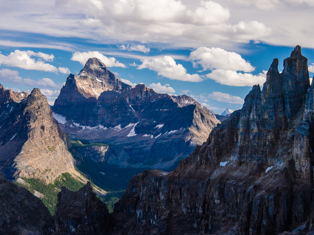 Amazing views into the Lake O'Hara region, including the very sexy Mount Biddle rising over the Opabin Plateau.