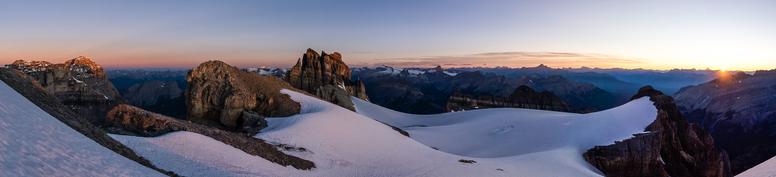 Sunrise with Stephen at left, Cathedral Crag at center  Narao on the right.