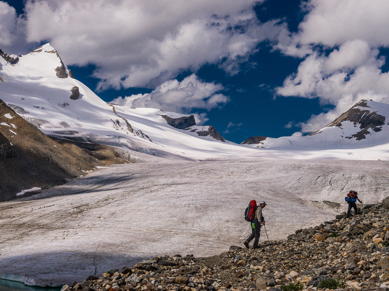 Getting closer to the Des Poilus Glacier with our mountain looming at upper left.