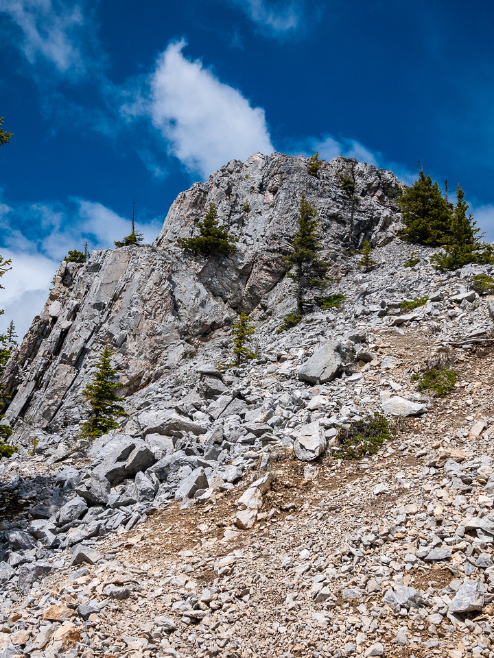 The south ridge is easy but loose - a view back from the descent to Baldy Pass.