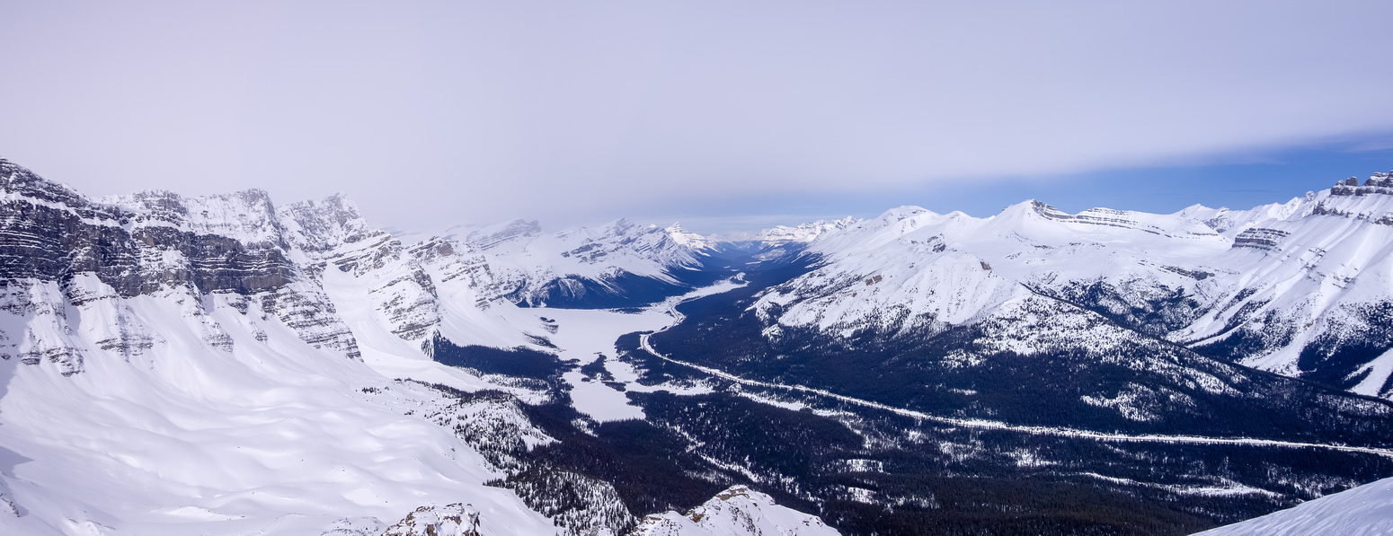 View north over Bow Lake and up Hwy #93. from near the nw ridge.