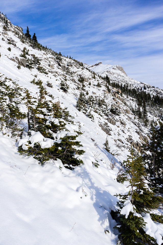 I side-hilled up this slope until I spotted a ledge traverse to the main bowl under the slopes to the summit.