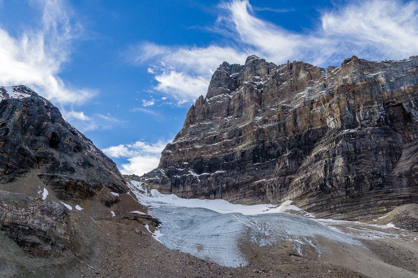 The Opabin Glacier is tame, but is quite broken and requires crampons to get up and down safely.