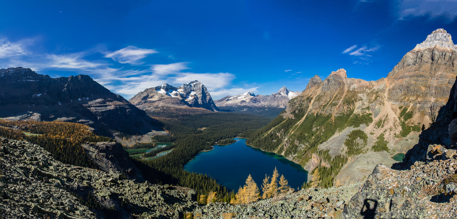 Lake O'Hara. Mount Huber towers above on the right. Tiny Yukness Lake is visible at lower right.