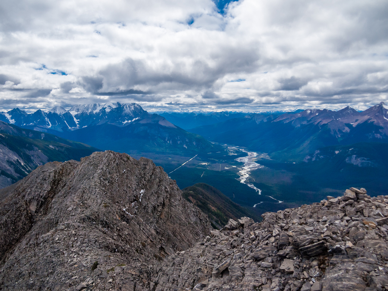 View down the TCH from the summit including Vaux and Chancellor in the clouds at left.