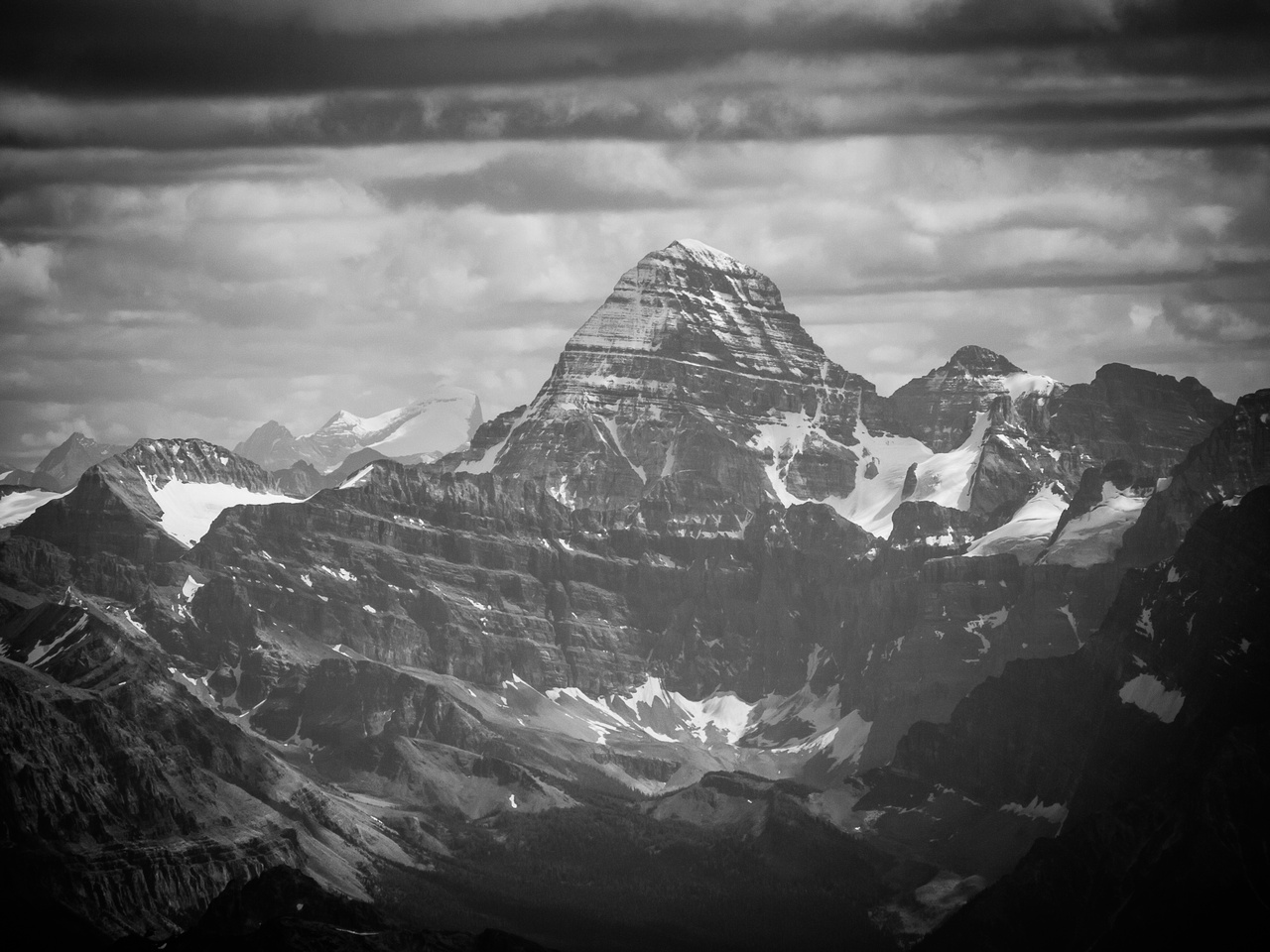 Mighty Mount Assiniboine with Joffre in the far distance at left.