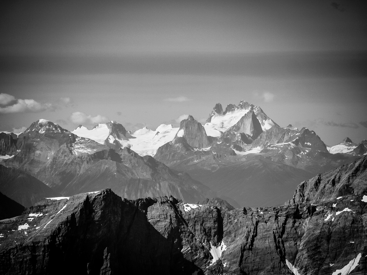 The Bugaboos show up in the far distance - but very clear.