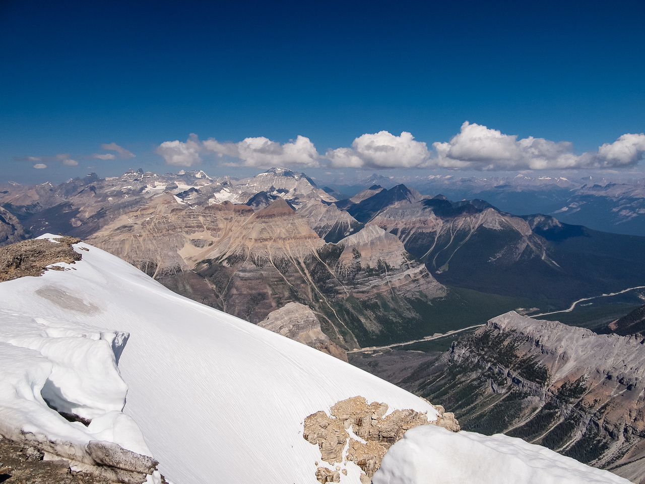 Mount Whymper with the Valley of Ten Peaks and the Fay Glacier beyond.