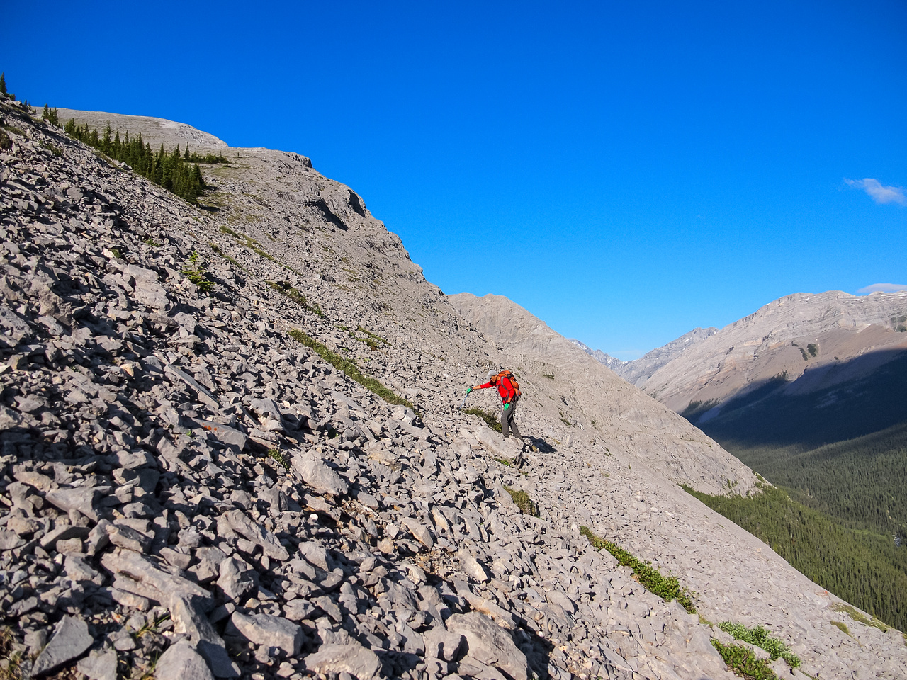 So grunts up the only section of loose scree from tree line to the first shoulder.
