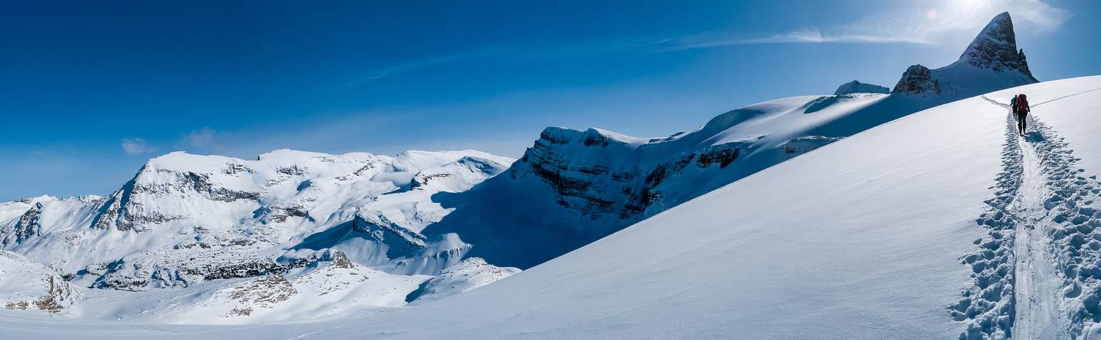 Iconic shot of an impressive looking St Nicholas (R) with Vulture Peak at center and Crowfoot on the left.
