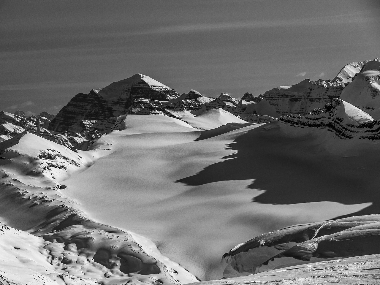 Mount Temple rises above the Waputik Glacier that we used for our exit to Balfour Creek / Hector Lk.