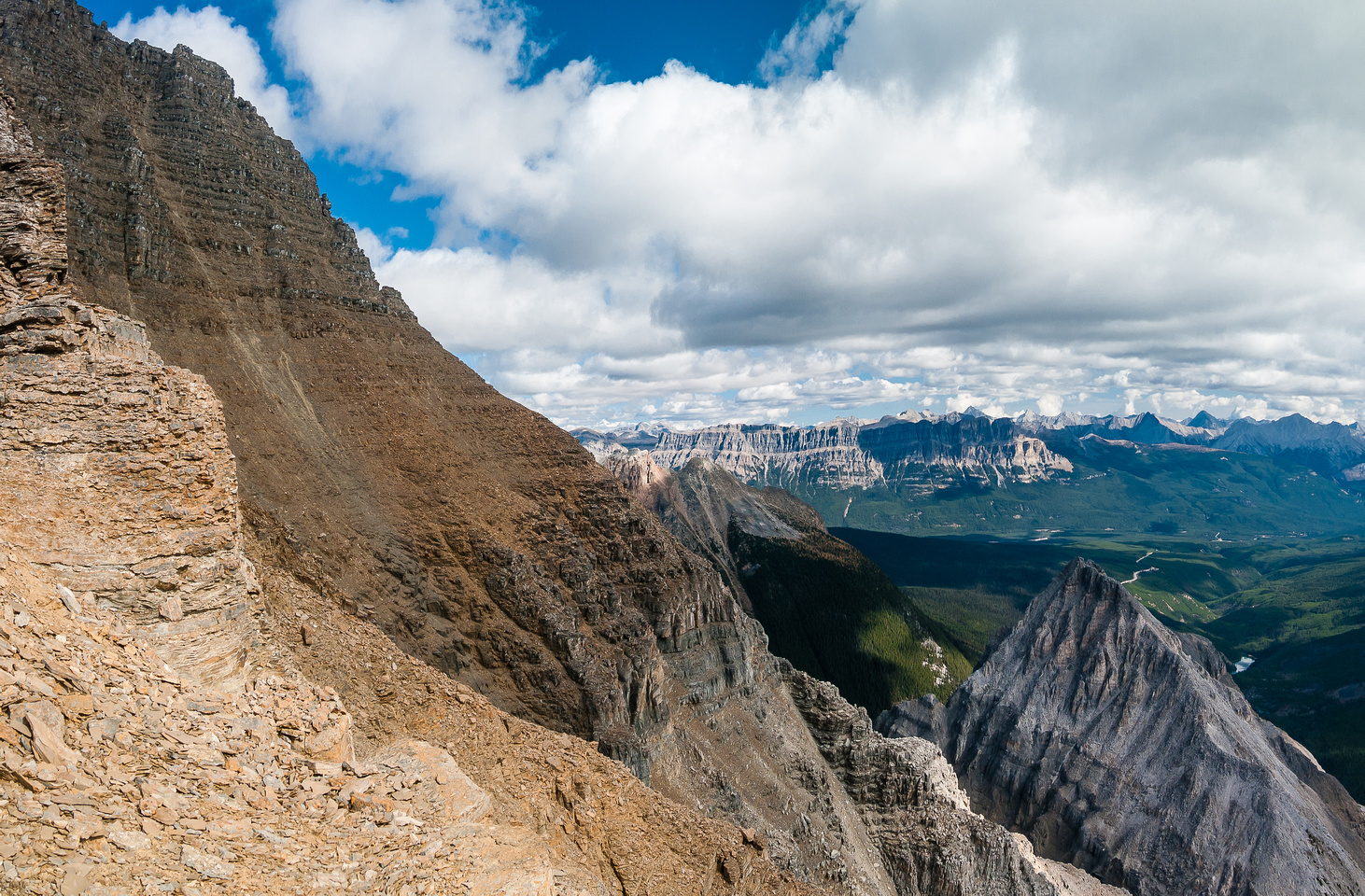 Looking back over the east face of Whymper from the south ridge.