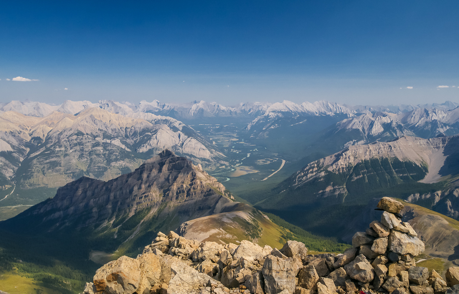 Looking down on the (tiny) Massive Mountain and down the Bow River Valley towards Banff.