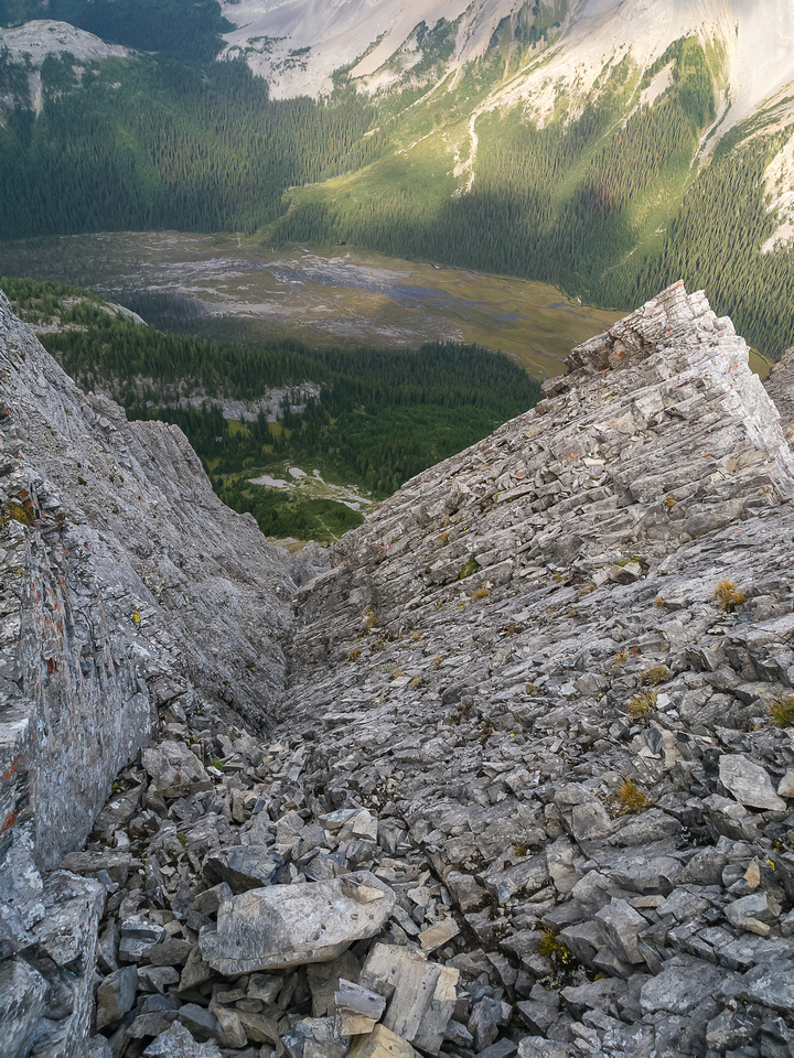 Looking down the upper crux.