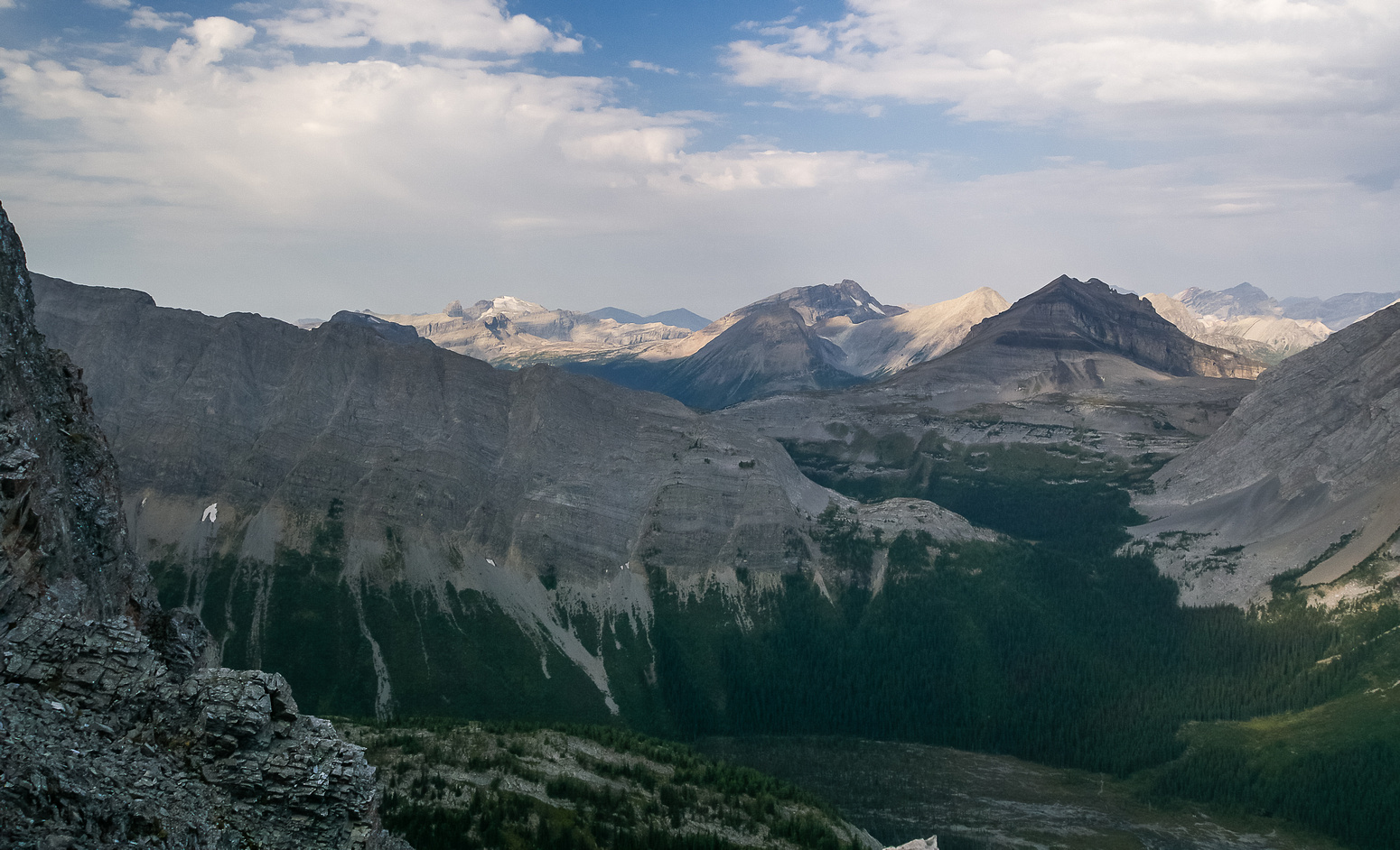 Looking over Burstall Pass towards Talon, Leval, White Man, Vavasour and Snow Peak.