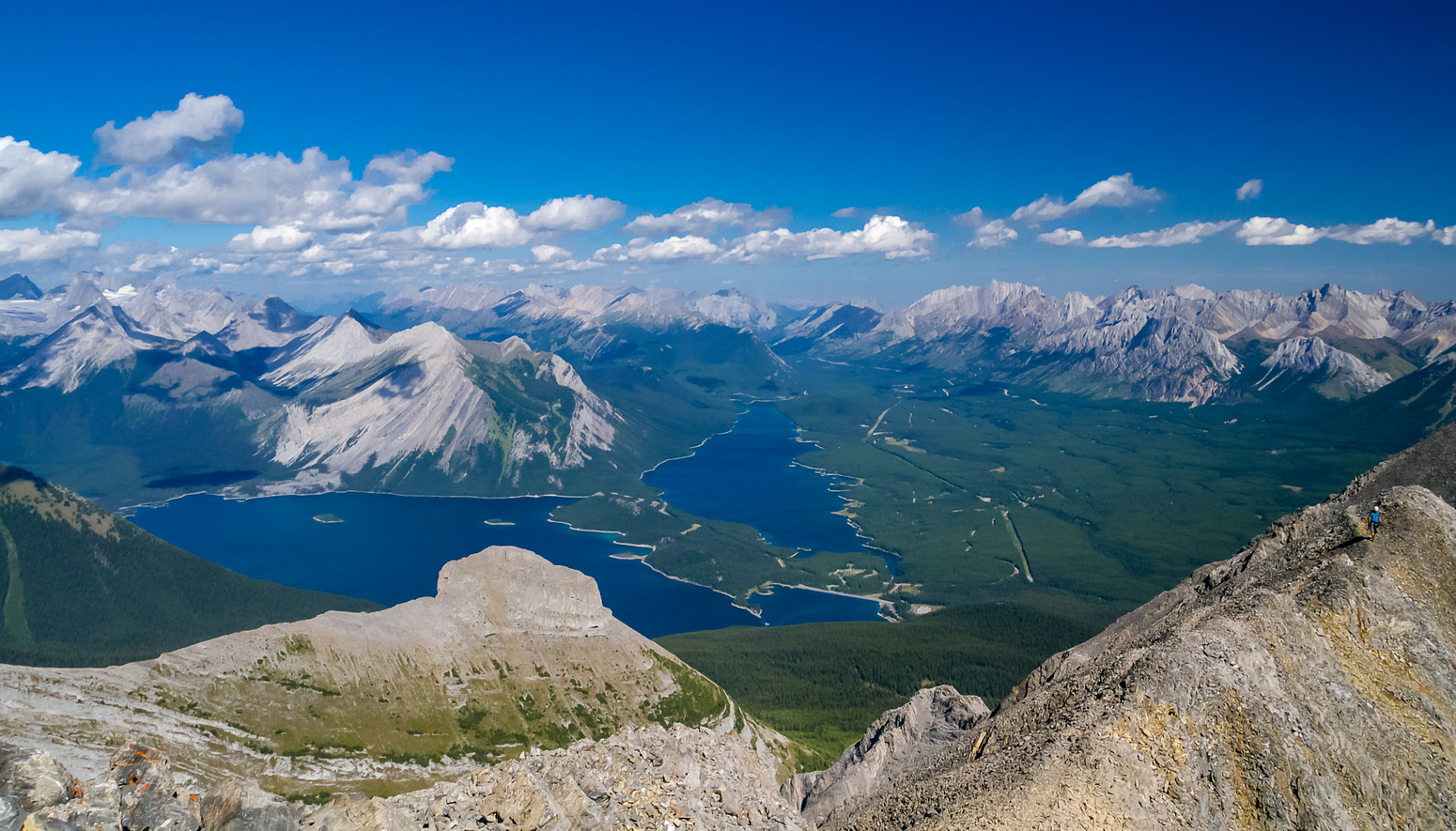 Incredible views over the Kananaskis Lakes with The Turret in the foreground.