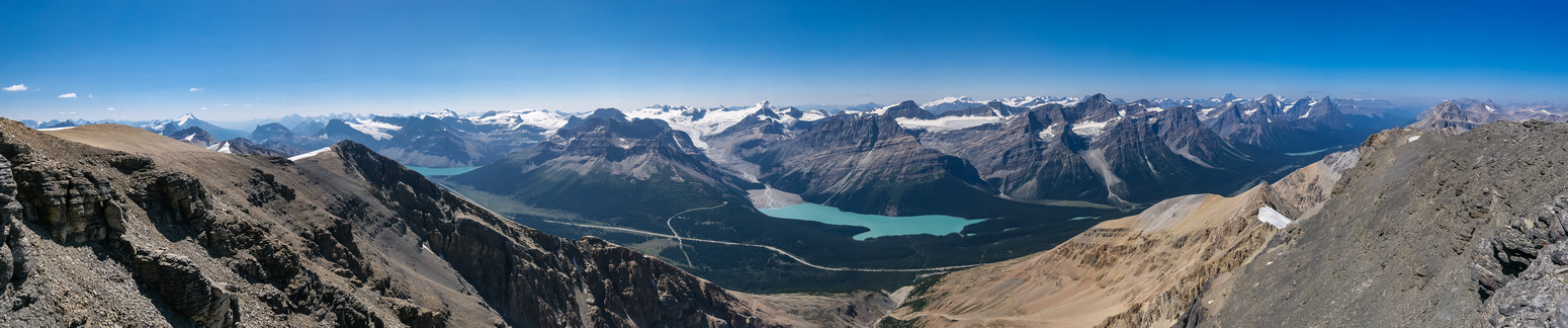 Views south (L) west and north (R) along the Icefields Parkway.