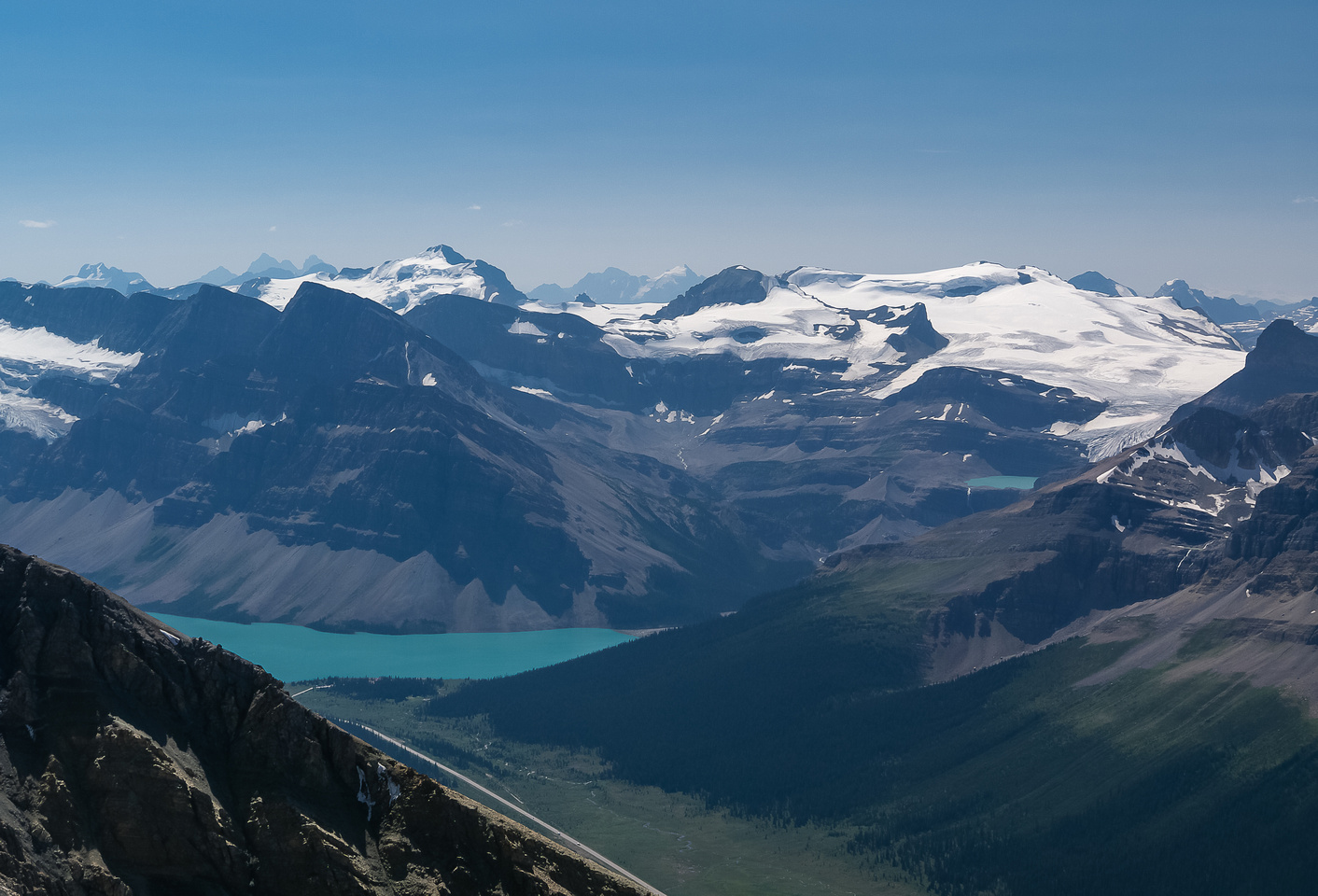 Looking over Bow Lake and Crowfoot and Vulture Mountains to the mighty Mount Balfour - highest peak of the Wapta Icefield.