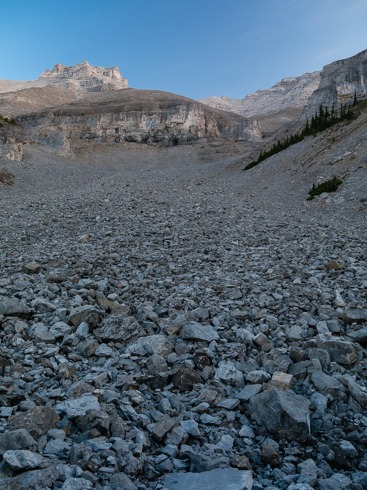 Loose scree at the back of the approach drainage.
