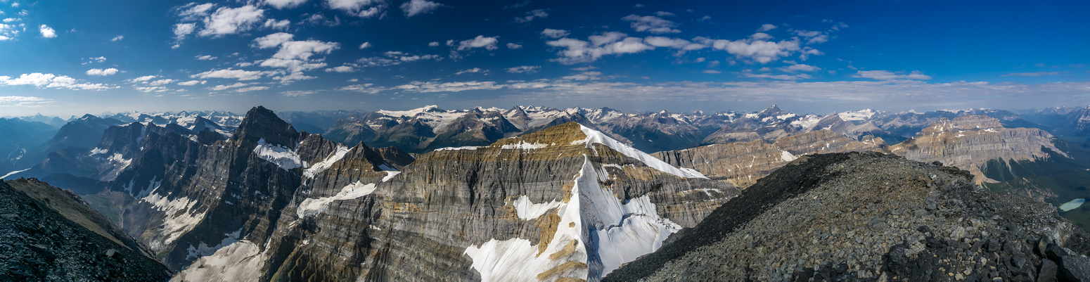 Howse on the left with the Freshfields and Mummery and then White Pyramid, Epaulette, Kaufman Peaks and Sarbach L to R.