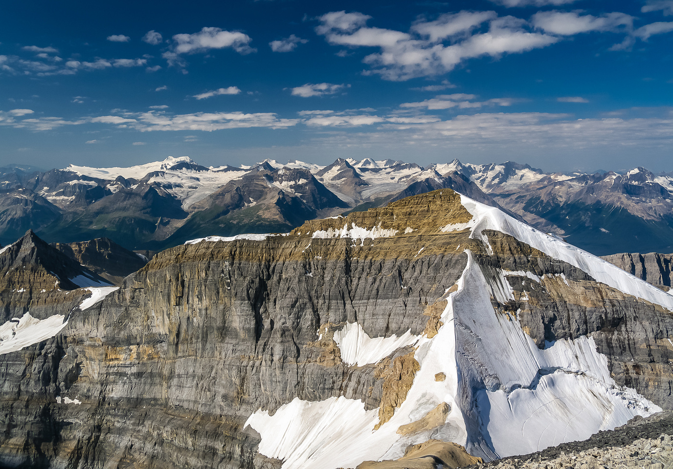 Looking over White Pyramid to the Freshfield Icefield.