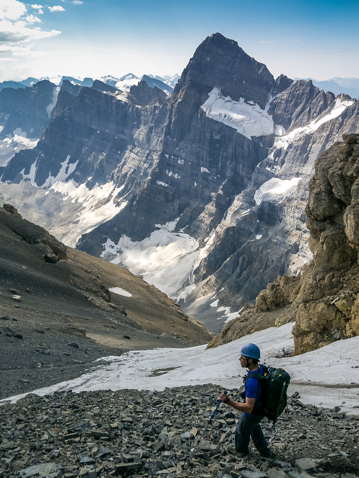Keith is crossing the top of the Alpine route (glacier) and traversing skier's left back to our ascent line.
