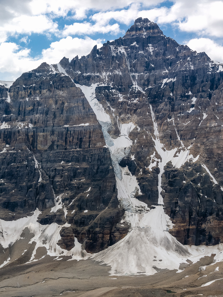 Mount Allen with the infamous 3/4 couloir looking pretty scary in summer conditions.