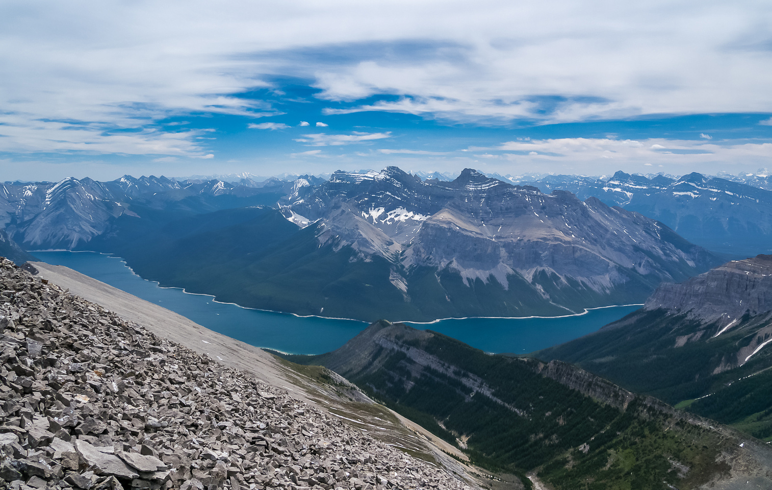 Lake Minnewanka with our descent ridge at lower center.