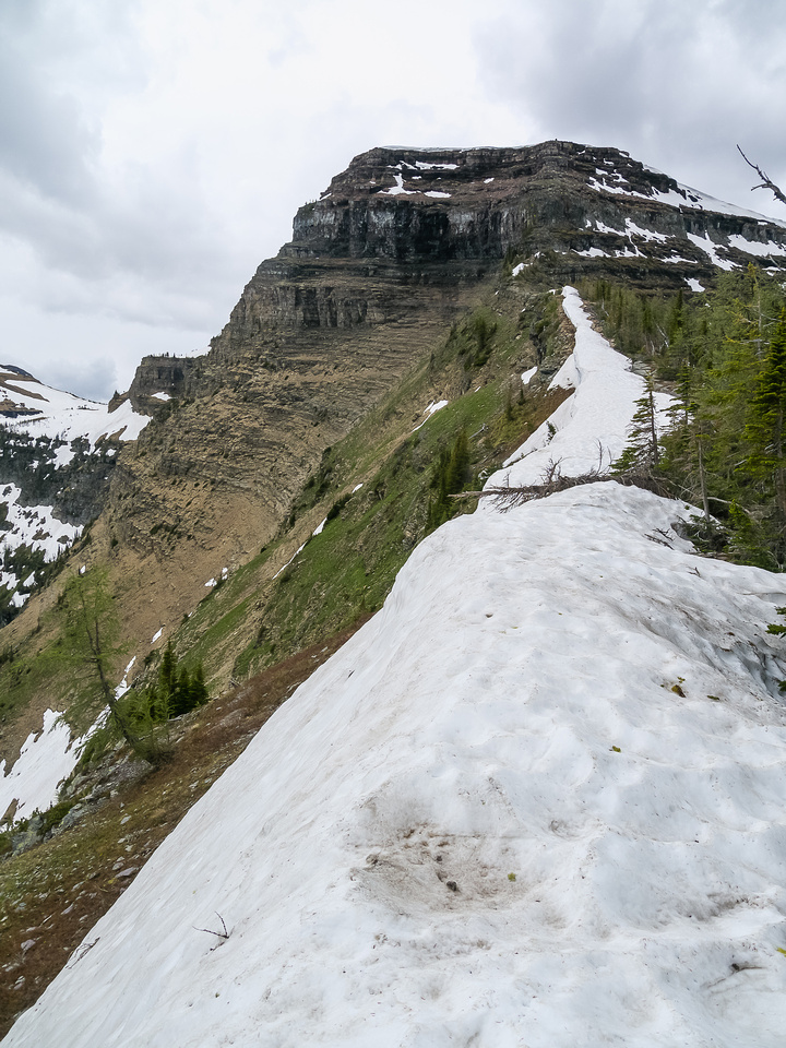 Looking ahead at Forum Peak from the ascent route.