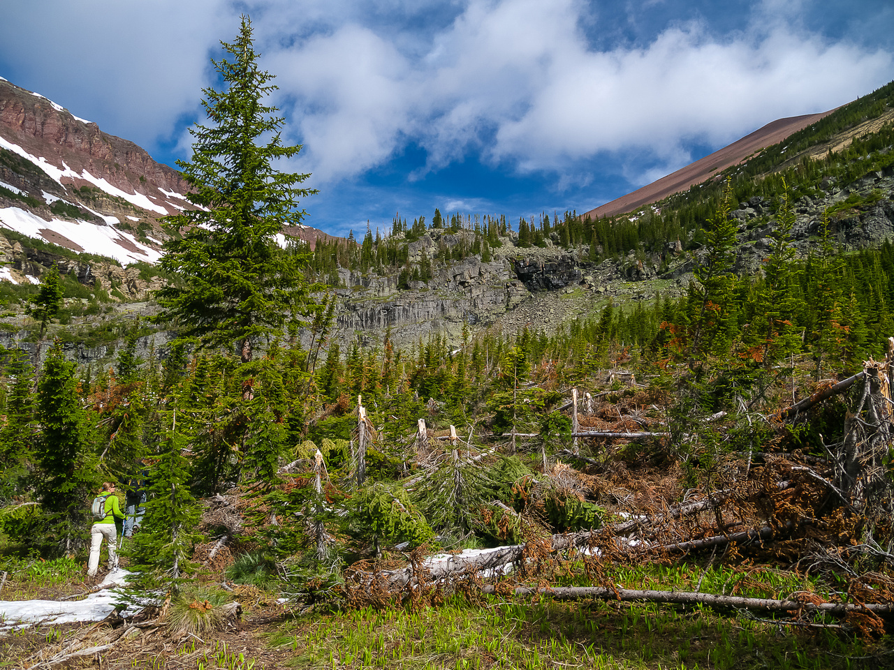 Lots of deadfall and avi debris on the trail above Goat Lake. You can see the Avion / Newman col in the center