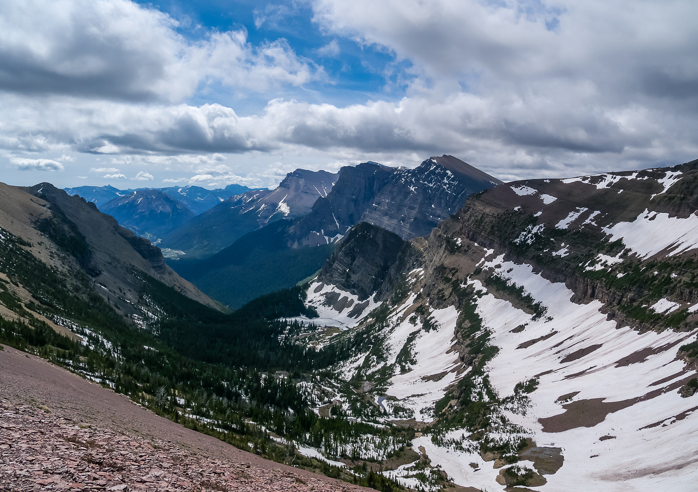 Looking over Goat Lake to Anderson, Blakiston and Ruby Ridge.