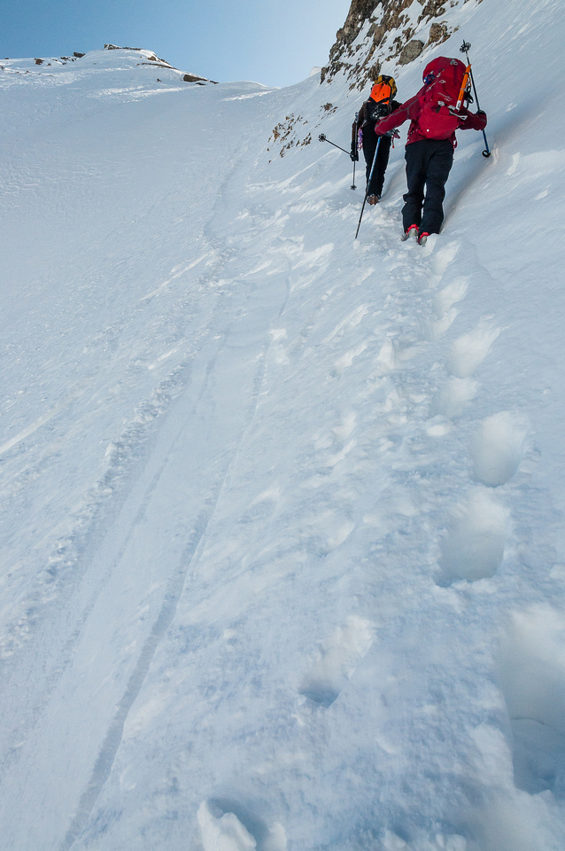 After abandoning the skis, we boot packed up to the ridge before roping up.