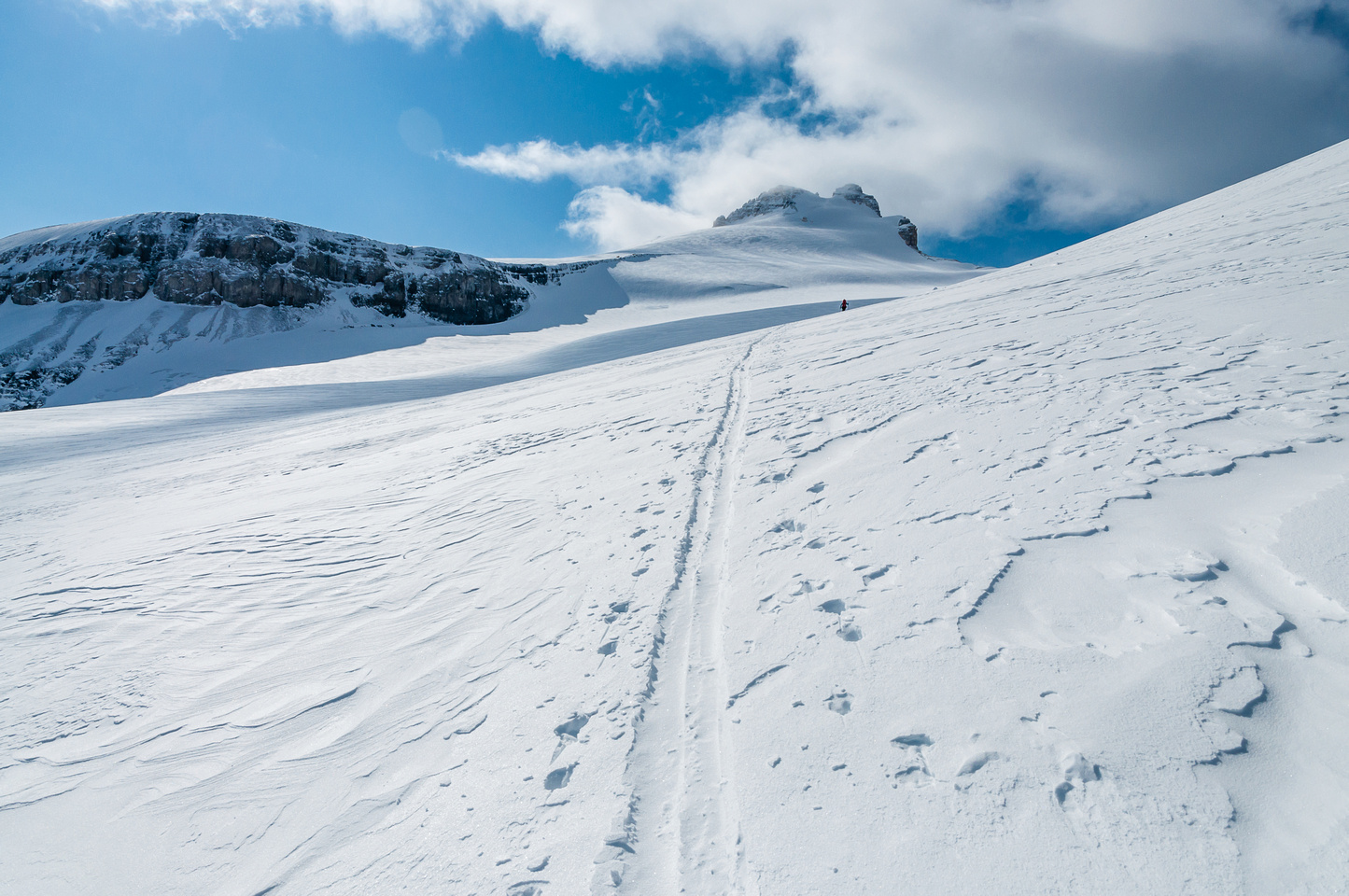 Skiing up the toe of Hector Glacier.