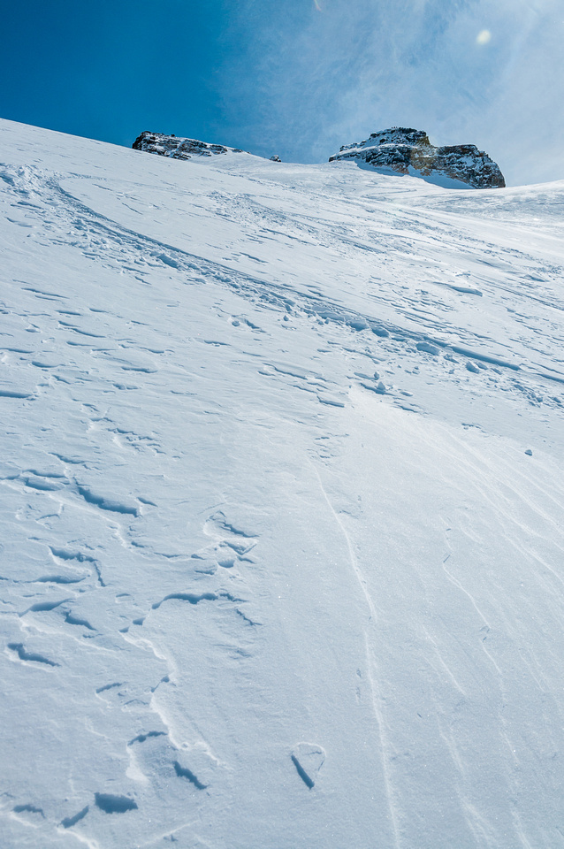 Skiing down the Hector Glacier.