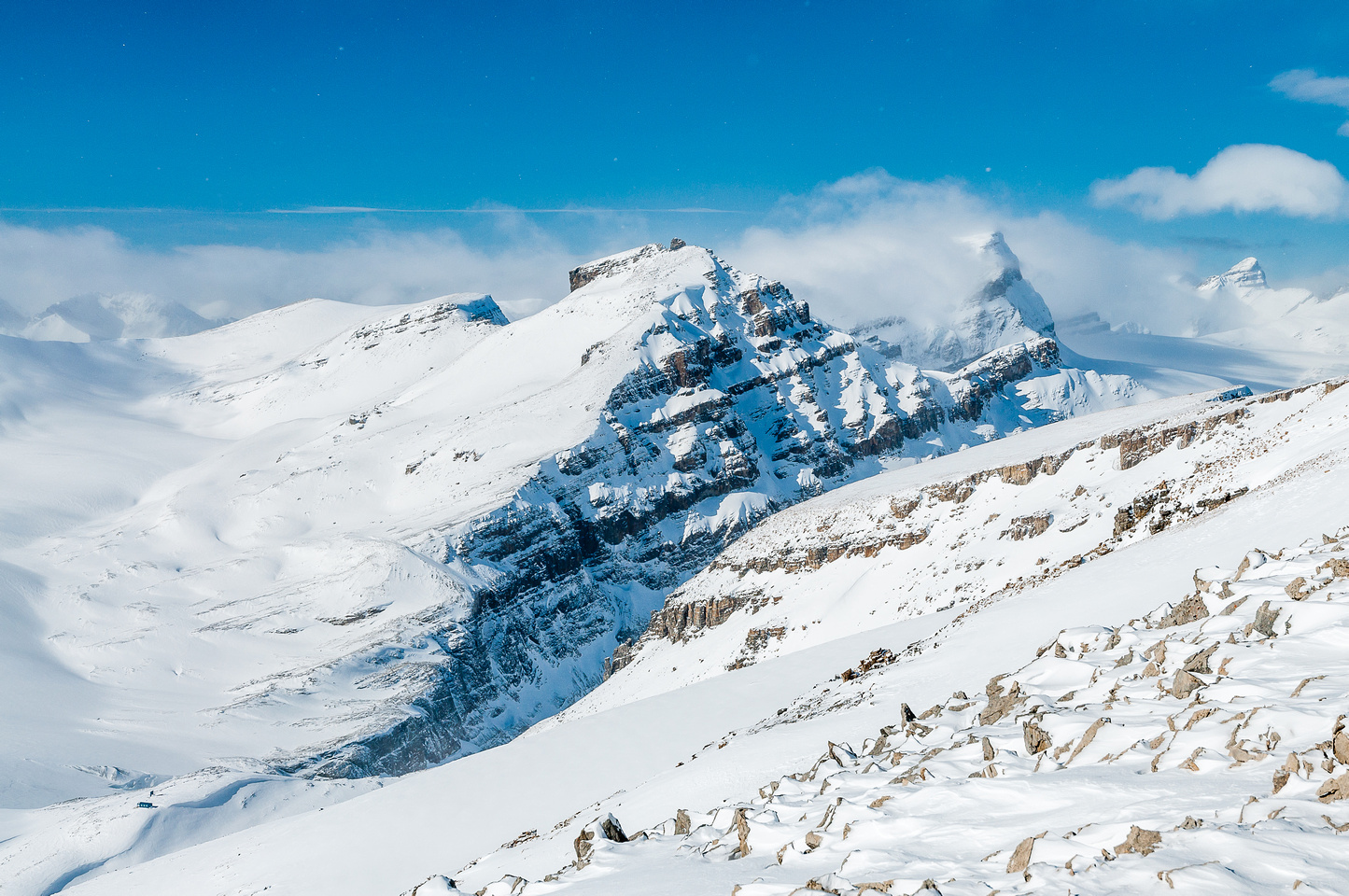 Looking over the tiny Peyto Hut (lower left) at one of the toughest Wapta peaks, Peyto Peak.