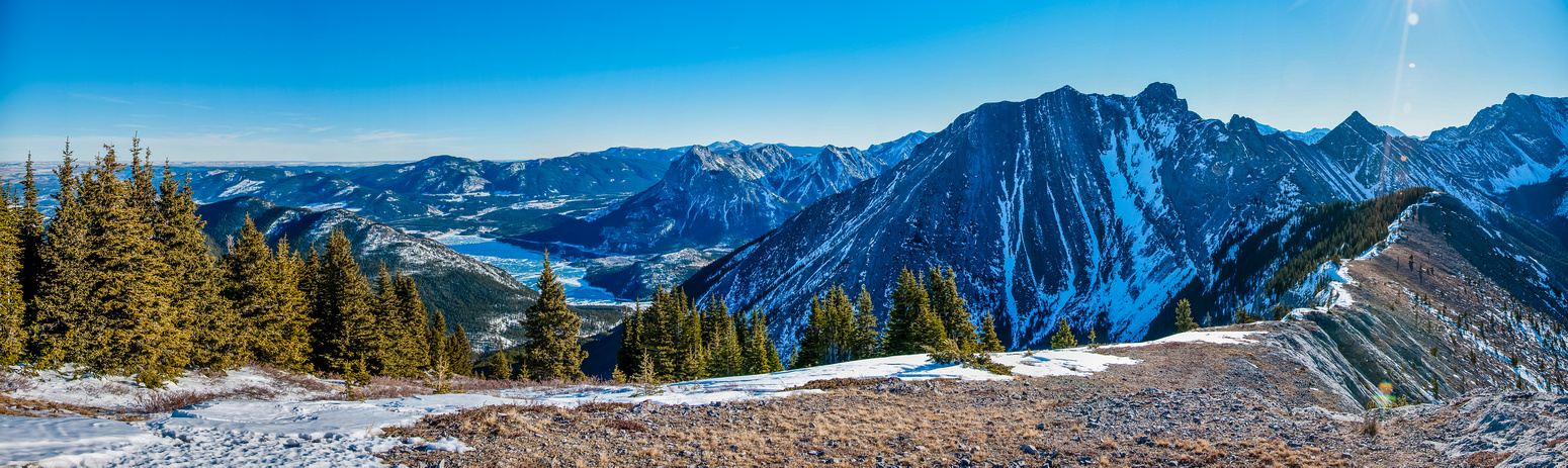Summit panorama looking towards Twin Towers (Jewell Peak) and Barrier Lake.