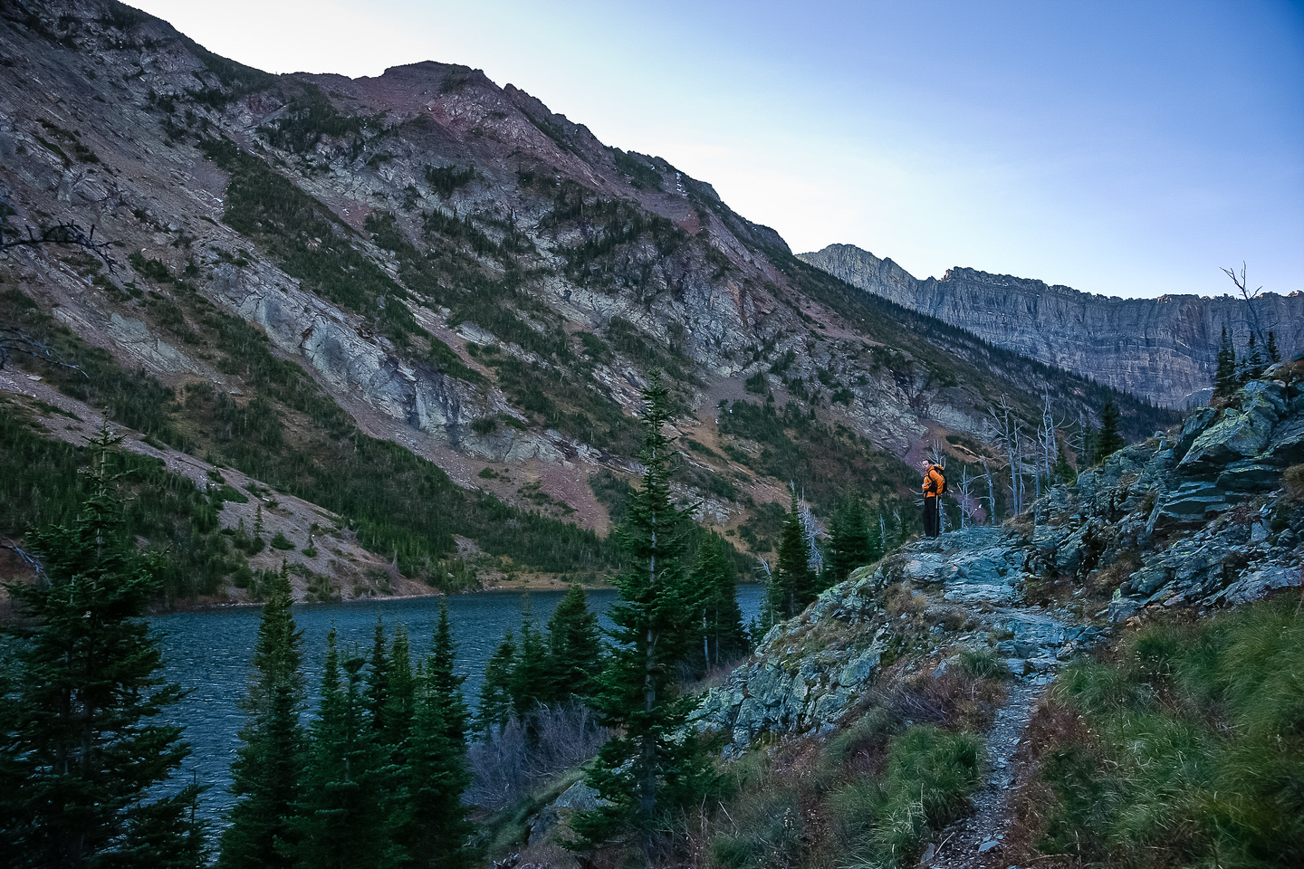 Wietse surveys Bertha Lake as we make our way around it to our ascent route.