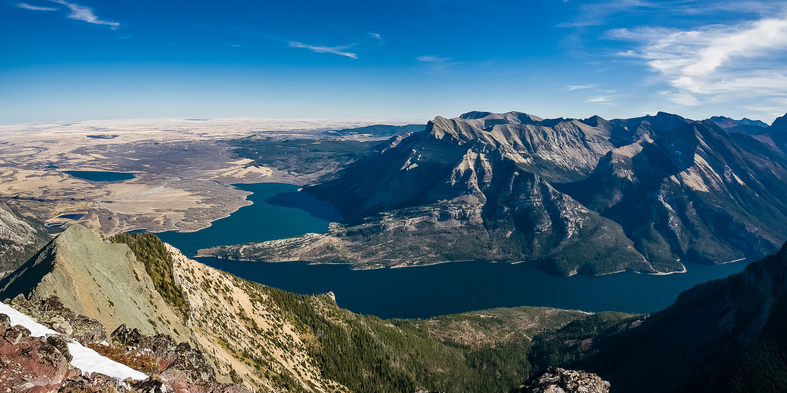 Vimy Peak and Ridge with Sofa & Arras in the distance and Waterton Lakes below.