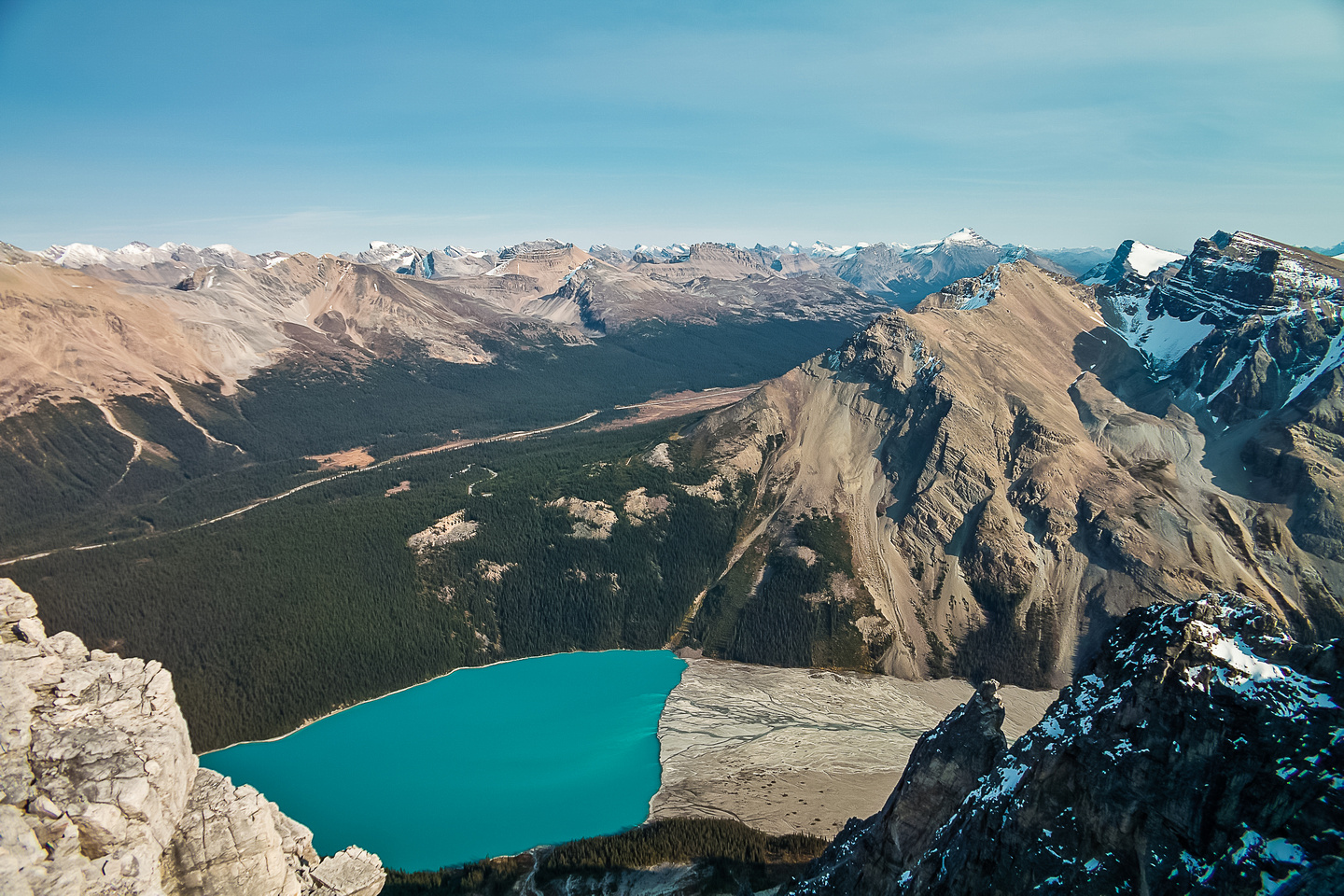 Great views to Jimmy Simpson over Peyto Lake.