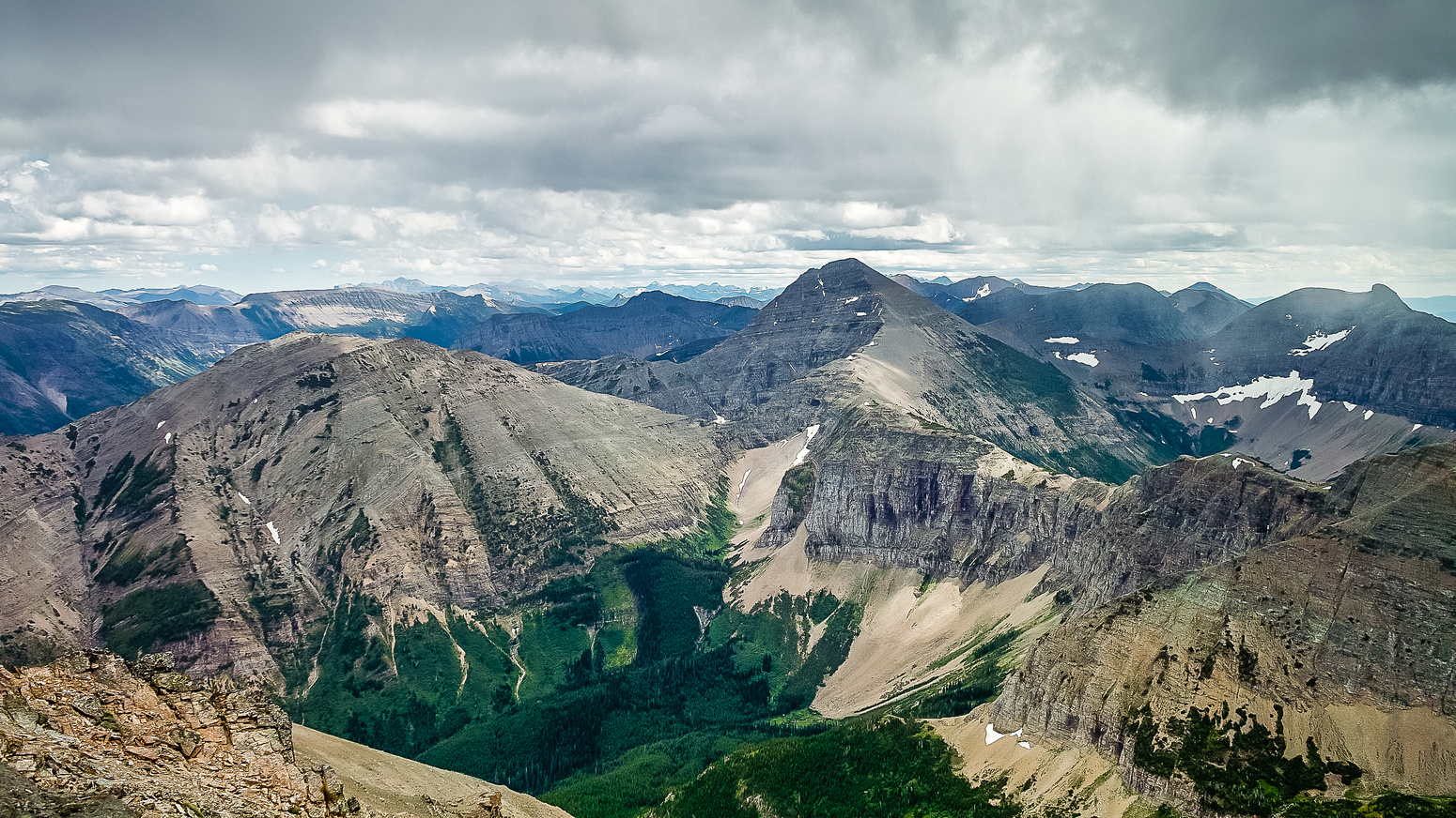 Very respectable views of Gravenstafel Ridge (L), Mount Haig (C) and Tombstone (R) over the Syncline Brook headwaters valley.
