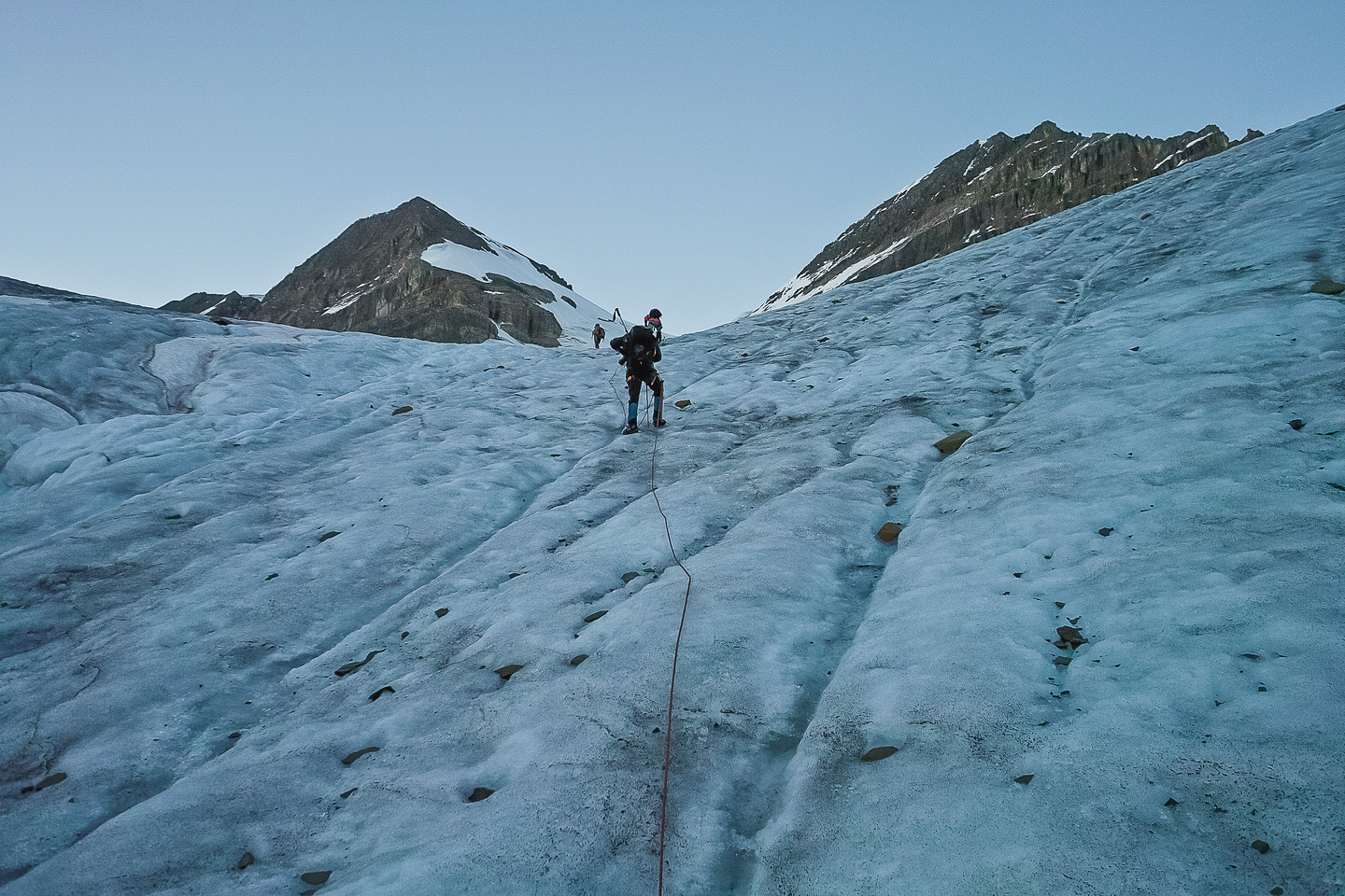 Starting up the toe of the glacier.