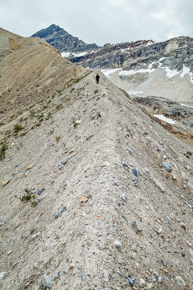 Moraines are less fun then they look - the concrete scree is tough to descend!