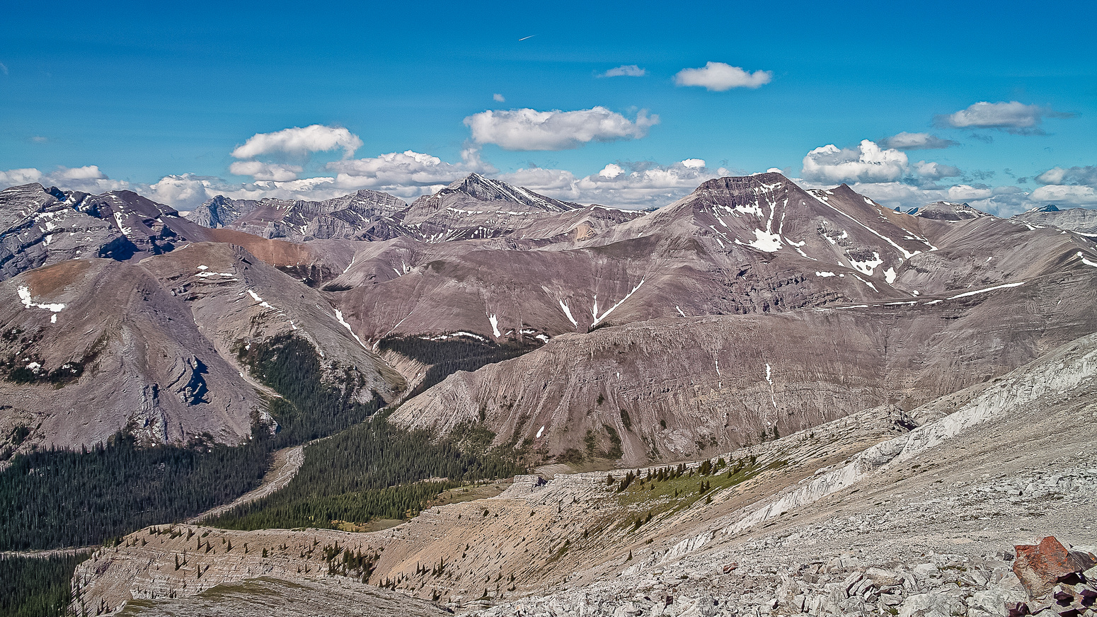 Mount Fisher is the high one in the center, Fullerton to the right.