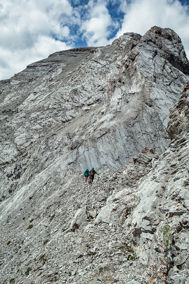 Descending the east ridge to the second window.