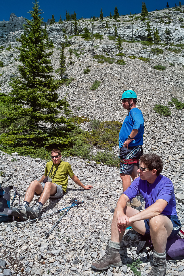 Relaxing at the bottom of the east ridge descent slopes.