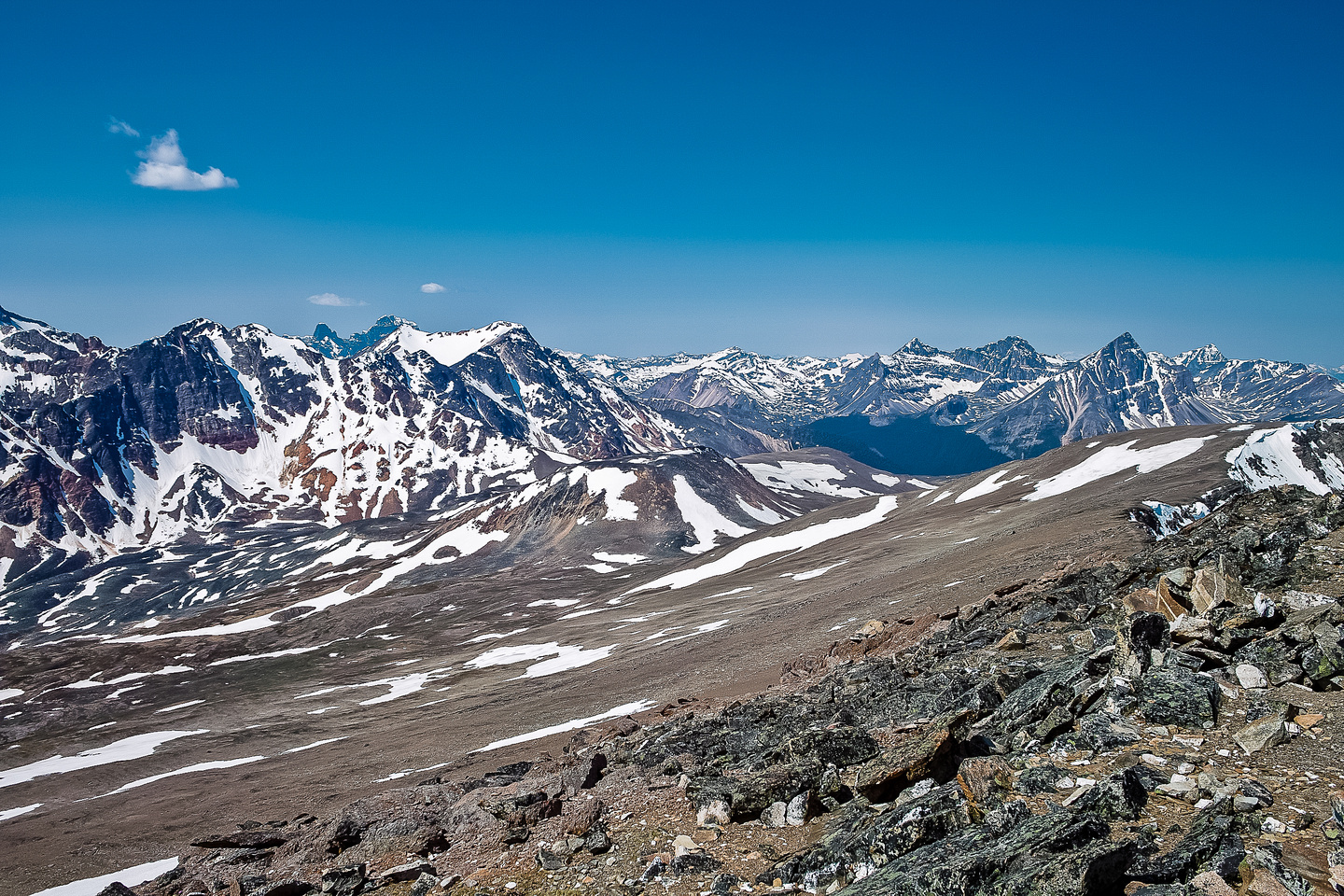 Looking over Indian Pass to Fortalice Mountain and Basilica Peak (R).