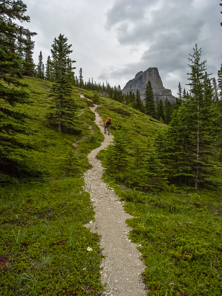 Wietse on the steep approach trail. Miette looms in the background.