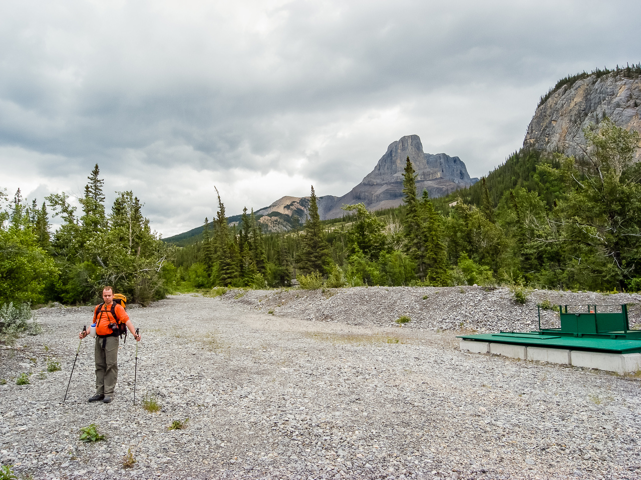 A view of where to start. Turn left down road when you see this 'green thing'. Roche Miette in the background.