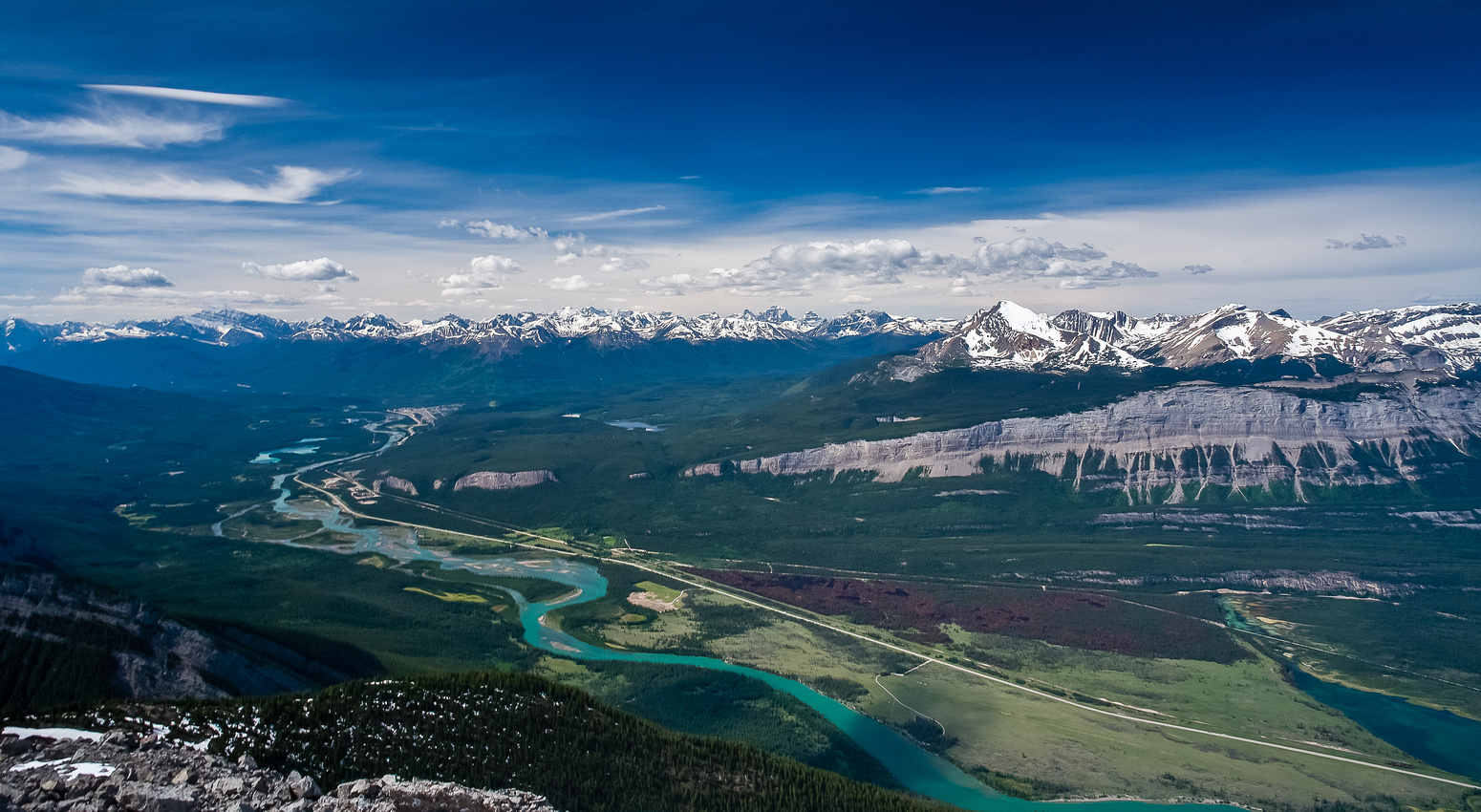 Views south up the Athabasca River.